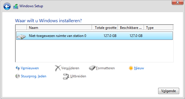 welke schijf installeer je windows?